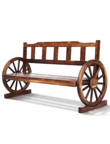 Gardeon Wooden Wagon Wheel Outdoor Bench 3 Seater - Dark Brown