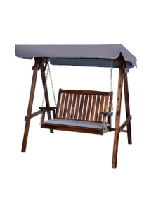 Gardeon Outdoor Furniture Swing Chair Wooden Garden Bench Hammock Canopy