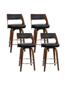 Artiss 4x Wooden Swivel Bar Stools Kitchen Dining Chair Cafe Black 76cm