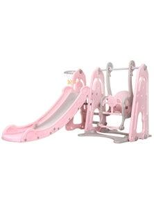 Keezi Kids Slide Swing Outdoor Playground Basketball Hoop Playset Indoor Pink