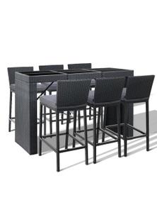 Gardeon Outdoor Bar Set - 1x Bar Table + 6 x Bar Stools - Black