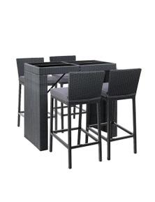 Gardeon Outdoor Bar Set - 1x Bar Table + 4 x Bar Stools - Black