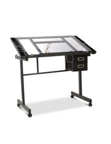 Artiss Drawing Desk Drafting Table - Adjustable Glass Art Tilt Drawers Black
