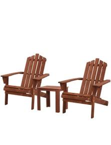 Gardeon Outdoor Adirondack Brown 3-Piece Furniture Set - 1x Side Table + 2x Chairs