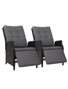 Gardeon 2 x Wicker Recliner Chairs - Black