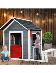 Keezi Kids Wooden Cubby House - Grey/White