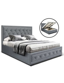 Artiss 'Tiyo' Bed Frame Double Full Size Gas Lift Base With Storage - Grey Fabric