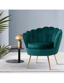 Artiss Retro Accent Armchair - Velvet Green