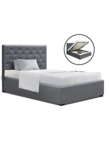 Artiss 'Vila' King Single Size Gas Lift Bed Frame Base With Storage - Grey Fabric