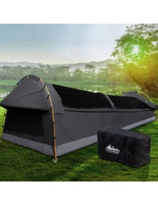 Weisshorn Double Camping Swag Canvas Tent Deluxe Dark Grey Large Bag