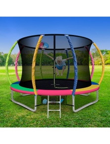 Everfit 10FT Trampoline Round Trampolines With Basketball Hoop Kids - Multi-coloured