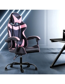 Artiss Mustang Office Gaming Chair Executive Computer Chair Recliner Pink