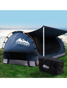 Weisshorn Double Camping Swag Canvas Free Standing Dome Tent Dark Blue