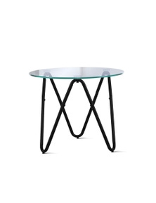 Artiss Coffee Table Glass End Side Tables High Gloss 50X50CM