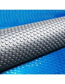 Aquabuddy 10M X 4M Solar Swimming Pool Cover 400 Micron Outdoor Bubble Blanket - Blue/Grey