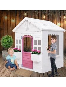 Keezi Kids Wooden Cubby House - White