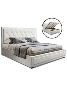 Artiss 'Tiyo' King Size Gas Lift Bed Frame Base With Storage - White Leather