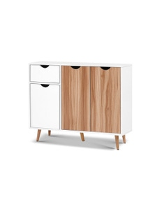 Artiss Buffet Sideboard Cabinet - Medium Wood Tone/White