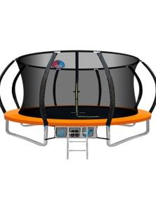Everfit 14FT Round Trampoline With Basketball Hoop Kids - Orange