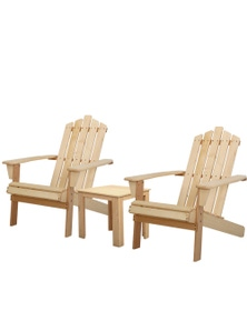 Gardeon Outdoor Adirondack Natural Wood 3-Piece Furniture Set - 1x Side Table + 2x Chairs