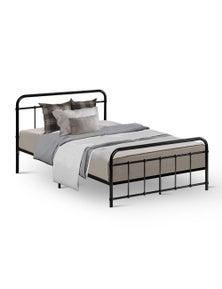 Metal Bed Frame Base Platform - Leo Black - King Single