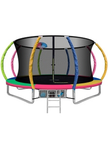 Everfit 12FT Trampoline Round Trampolines With Basketball Hoop Kids - Multi-coloured