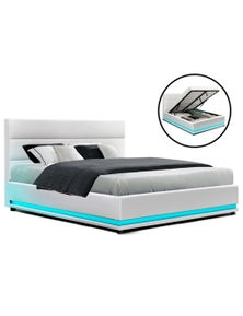 Artiss 'Lumi' LED Bed Frame Queen Size Gas Lift Base Storage White Leather