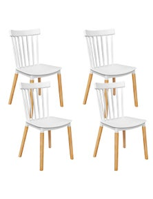 Artiss 4X Dining Chairs Replica Kitchen Chair White Retro Rubber Wood Cafe Seat