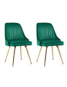 Artiss Dining Chairs Retro Chair Cafe Kitchen Modern Metal Legs Velvet Green x2