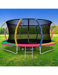 Everfit 14FT Trampoline Round Trampolines With Basketball Hoop Kids - Multi-coloured