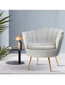Artiss Armchair Lounge Chair Accent Armchairs Retro Single Sofa Velvet Grey