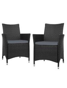 Gardeon Outdoor Bistro Set Chairs Patio Furniture Dining Wicker Garden Cushion X2 Gardeon