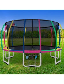 Everfit 16FT Trampoline Round Trampolines With Basketball Hoop Kids - Multi-coloured