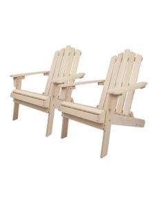 Gardeon 2x Outdoor Adirondack Fir Wood Timber Chairs