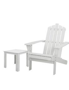 Gardeon Wooden Adirondack Outdoor Set - 1x Side Table + 1x Chair - White