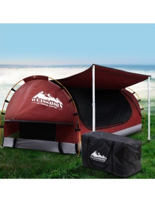 Weisshorn Double Camping Swag Canvas Free Standing Dome Tent Red with 7CM Mattress
