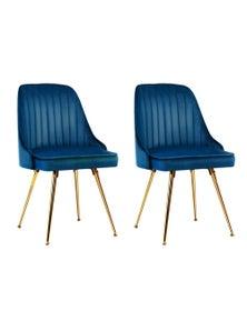 Artiss Dining Chairs Retro Chair Cafe Kitchen Modern Metal Legs Velvet Blue x2