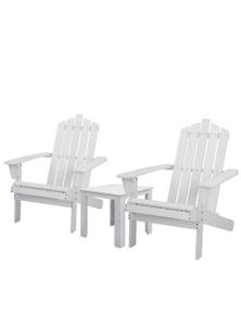 Gardeon Outdoor Adirondack White 3-Piece Furniture Set - 1x Side Table + 2x Chairs