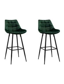 Devanti Artiss Velvet Bar Stools - Green