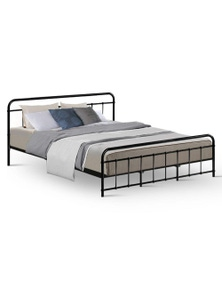 Leo King Size Black Metal Bed Frame