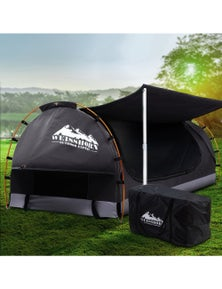 Weisshorn Double Camping Swag Canvas Free Standing Dome Tent Dark Grey