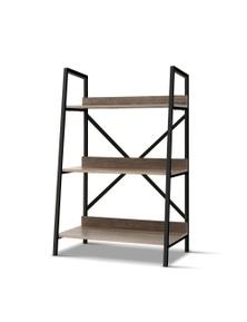 Artiss Bookshelf 3-Tier Metal Oak Display Shelf