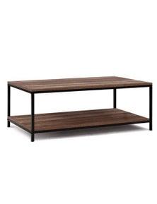 Artiss Coffee Table Wooden Rustic Vintage Storage Shelf Metal Frame Black