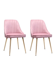 2x Artiss Dining Chairs Retro Chair Kitchen Modern Iron Legs Velvet Pink