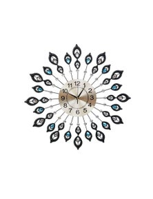 Large Modern 3D Crystal Wall Clock Luxury Golden Glass Round Dial Home Office