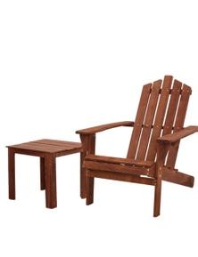 Gardeon Wooden Adirondack Outdoor Set - 1x Side Table + 1x Chair - Brown