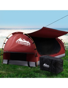 Weisshorn Swag King Single Camping Canvas Swag - Free Standing Dome Tent with 7CM Mattress Red