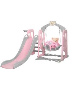 Keezi Kids Slide Swing Outdoor Playground Pink