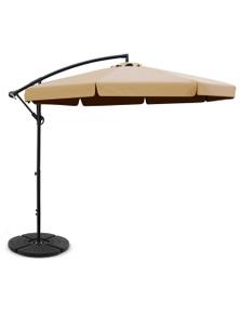 Instahut 3M Cantilever Umbrella with 48x48cm Base - Beige