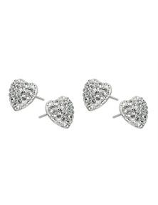 Sterling Silver Heart Earrings w/ Swarovski Crystals 2PK